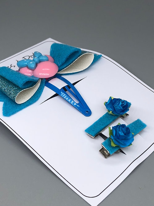 Turquoise & pink hair barrette set