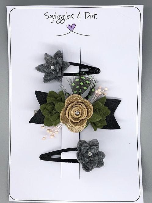 Grey, green & gold rose barrette set