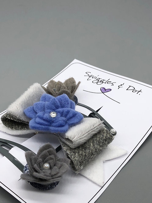 Grey & blue hair barrette set