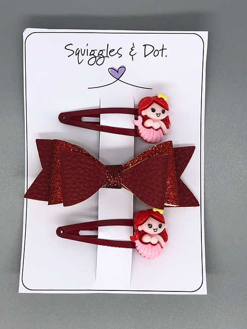 Red hair barrette set
