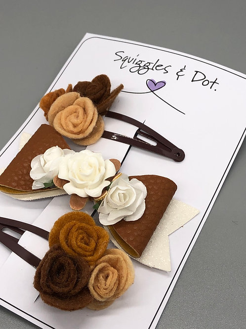 Brown rose hair barrette set