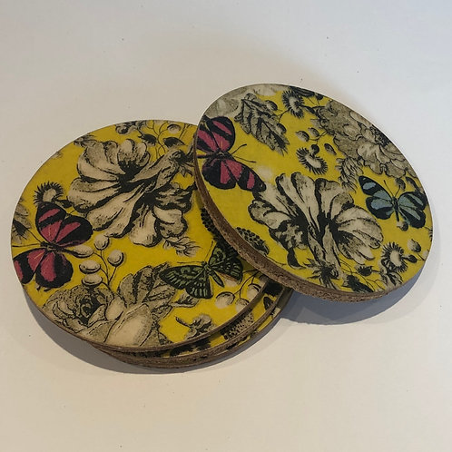 Yellow Floral Coasters (x4)