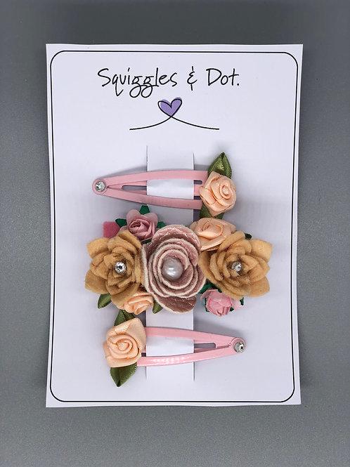 Pink & peach rose hair barrette set