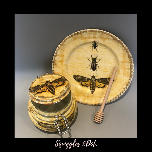 Honey Pot & Apple Plate Set