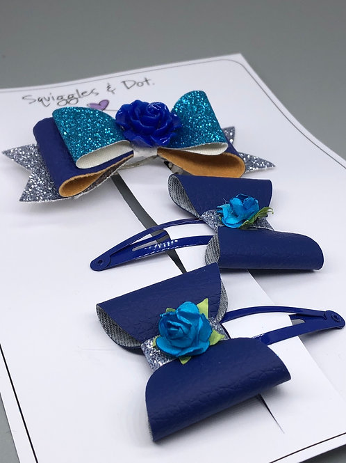 Turquoise & blue hair barrette set
