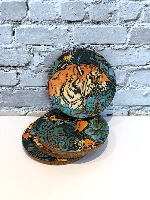 Jungle Print Coasters (x4)