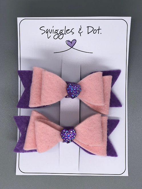 Pink & purple hair barrette set