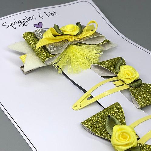 Yellow & green hair barrette set