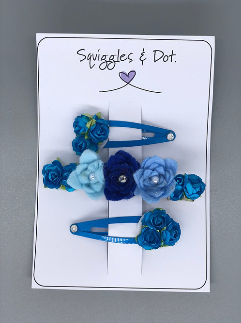 Blue hair barrette set