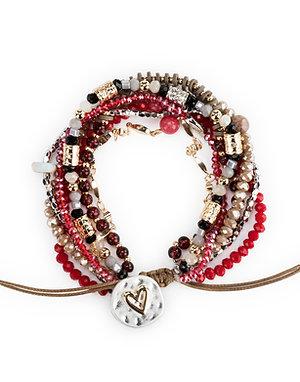 Beaded Love Garnet Bracelet