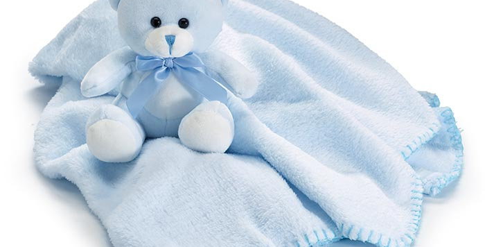 Soft Baby Bear and Blanket in Blue or Pink