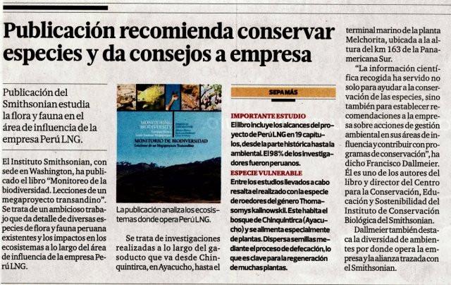 Noticia publicada en el diario El Comercio el 17 de Noviembre de 2013