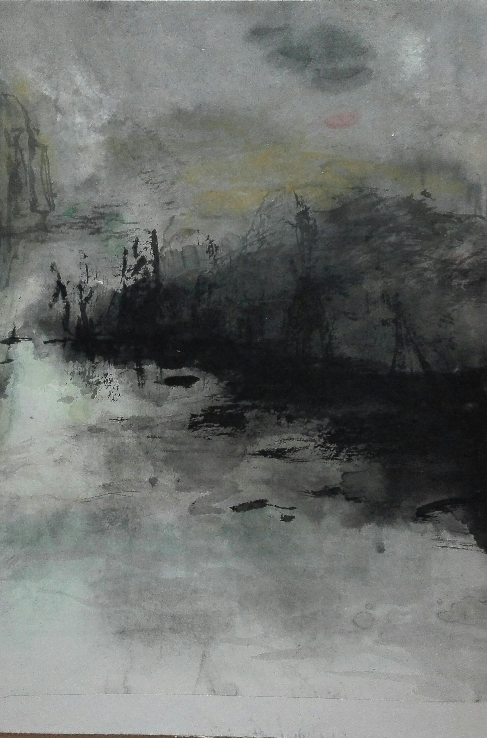 2005..小河边_paysage_d_un_fleuve_____________Encre_sur_papier__49x35