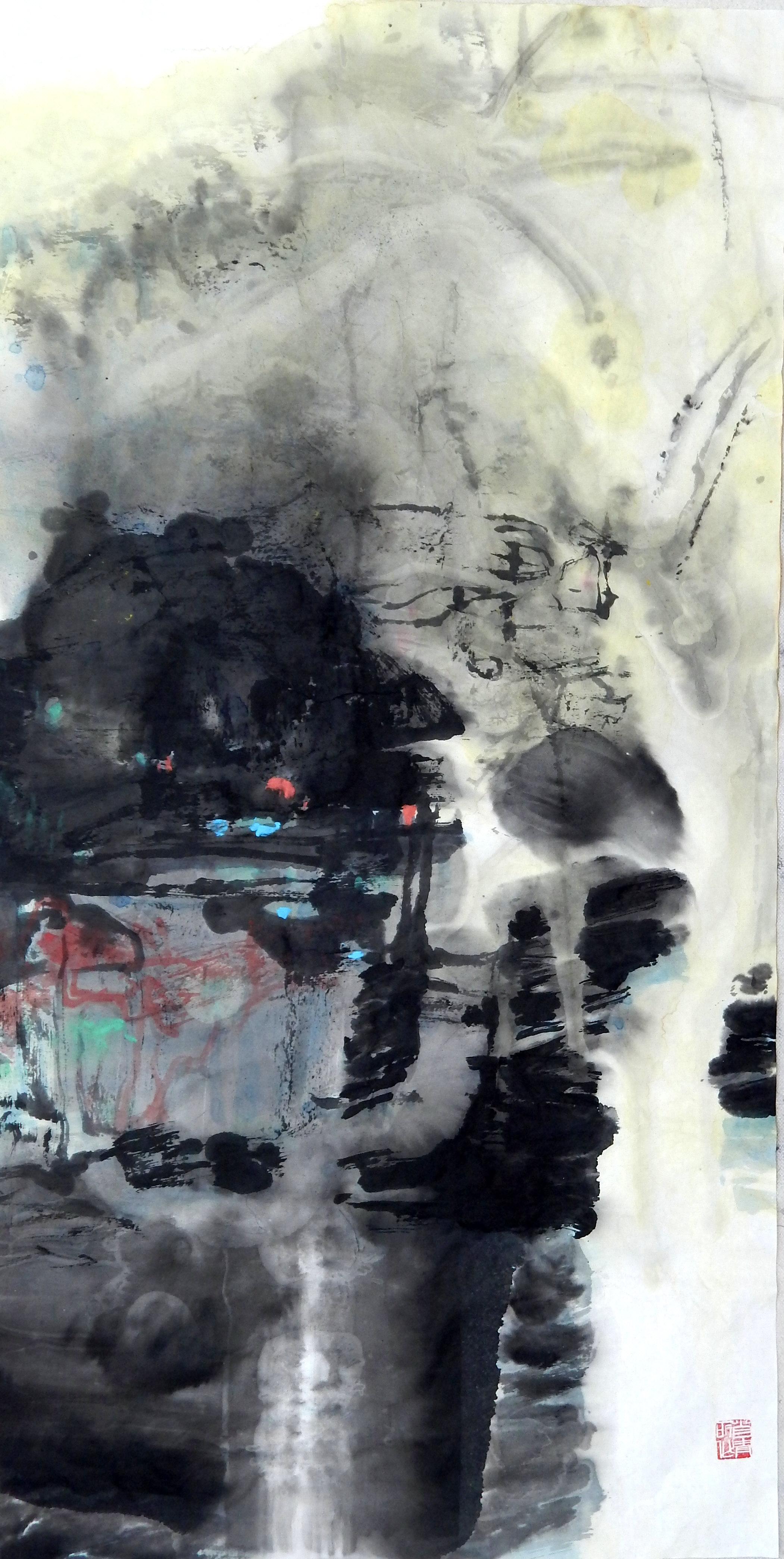 2016 烟雨江南        Brume  du sud      137 x 68