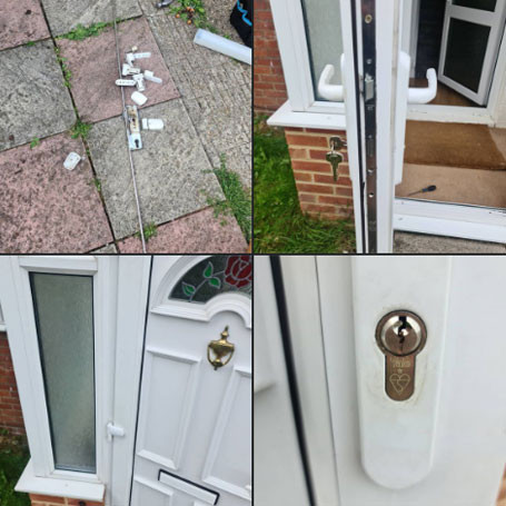 Call out to a porch door not working at all, the hinges were all broken and the locking system seized up, replaced hinges and re hung, fitted new locking system with BS 1 Star Yale cylinder, door working like new, while I was there the customer decided on British Standard cylinders all round, good move