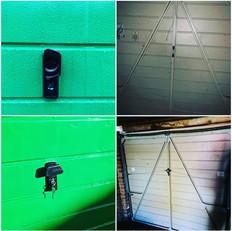Garage door with broken locking handle, cables missing and broken spring catch