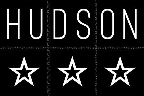 Three Stars (white script on black mat)