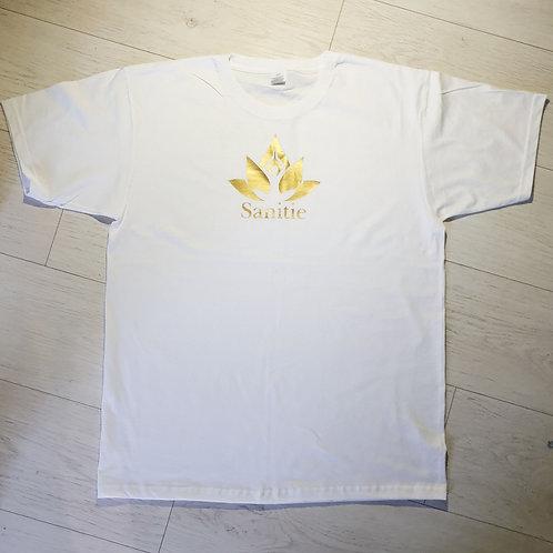 White Original Gold Sanitie  cotton t-shirt