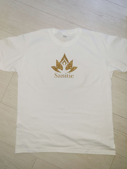 White Limited edition Glitter Gold Sanitie cotton t-shirts