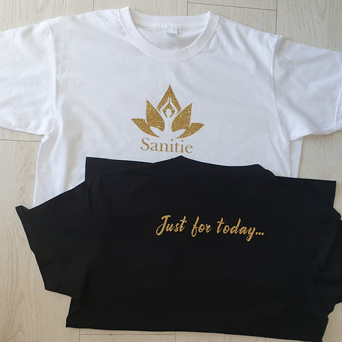 Adult Slogan T-shirt - Mental Health Matters / Just for Today - Glitter Gold