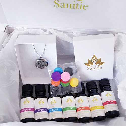 Sanitie - Essential Oils gift set with diffuser necklace and colourful discs