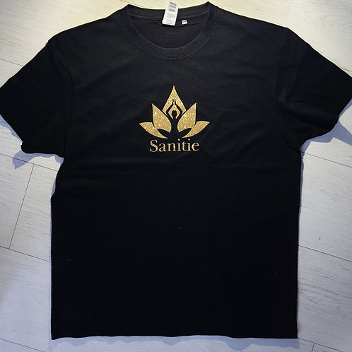 Black Limited edition Gold glitter Sanitie cotton t-shirt.