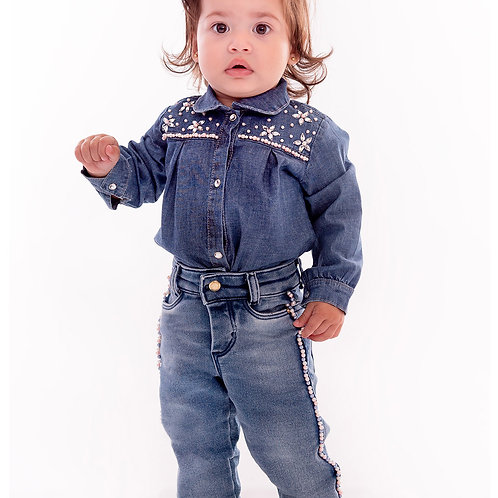 Body Manga Longa Jeans com Elastano