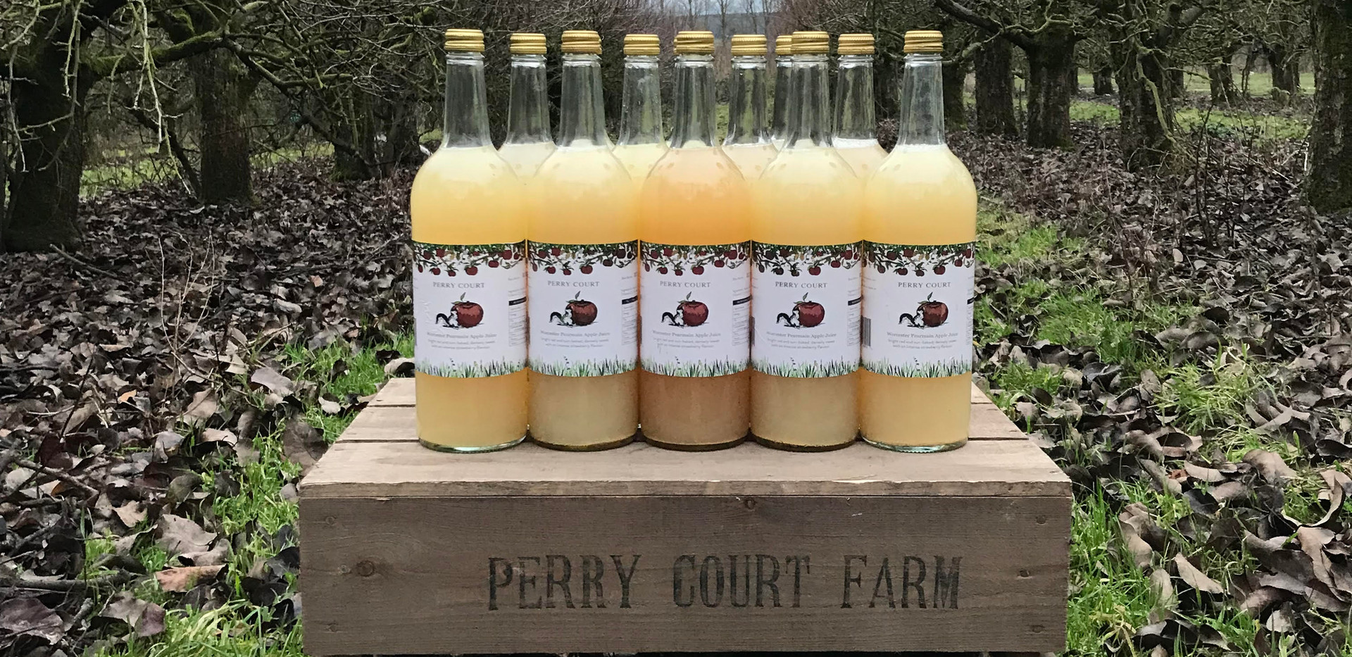 Our apple juice in the orchard