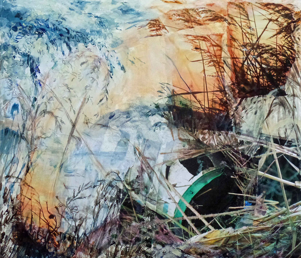 Jessie Davies, untitled (reeds and barrel), acrylic and mixed media on canvas