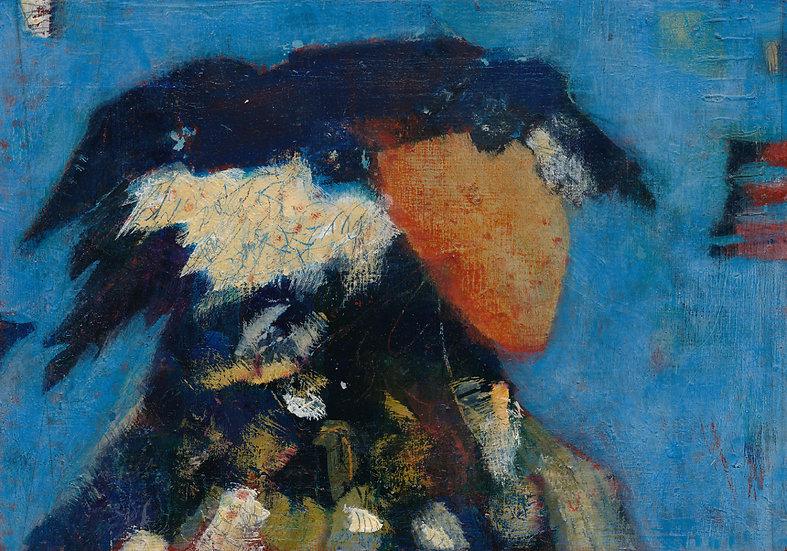 Bird on blue background