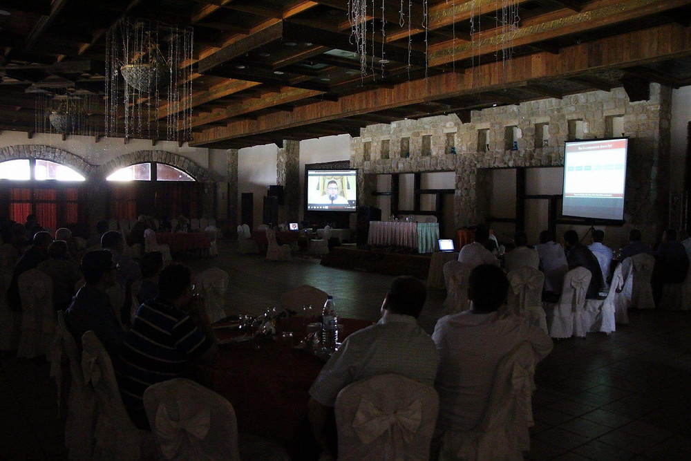 As an international guest speaker, Dr. Mazen Sinjab remotely contributes to the Palestinian Ophthalmology Conference.