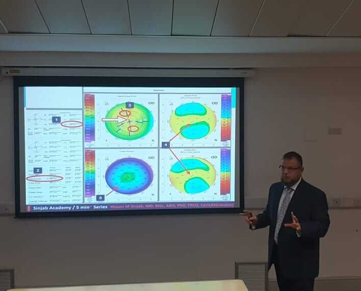 Officially invited by Manchester Royal Eye Hospital, Dr. Mazen Sinjab instructed a 2-hour course about the right way to choose the best option in refractive surgery.