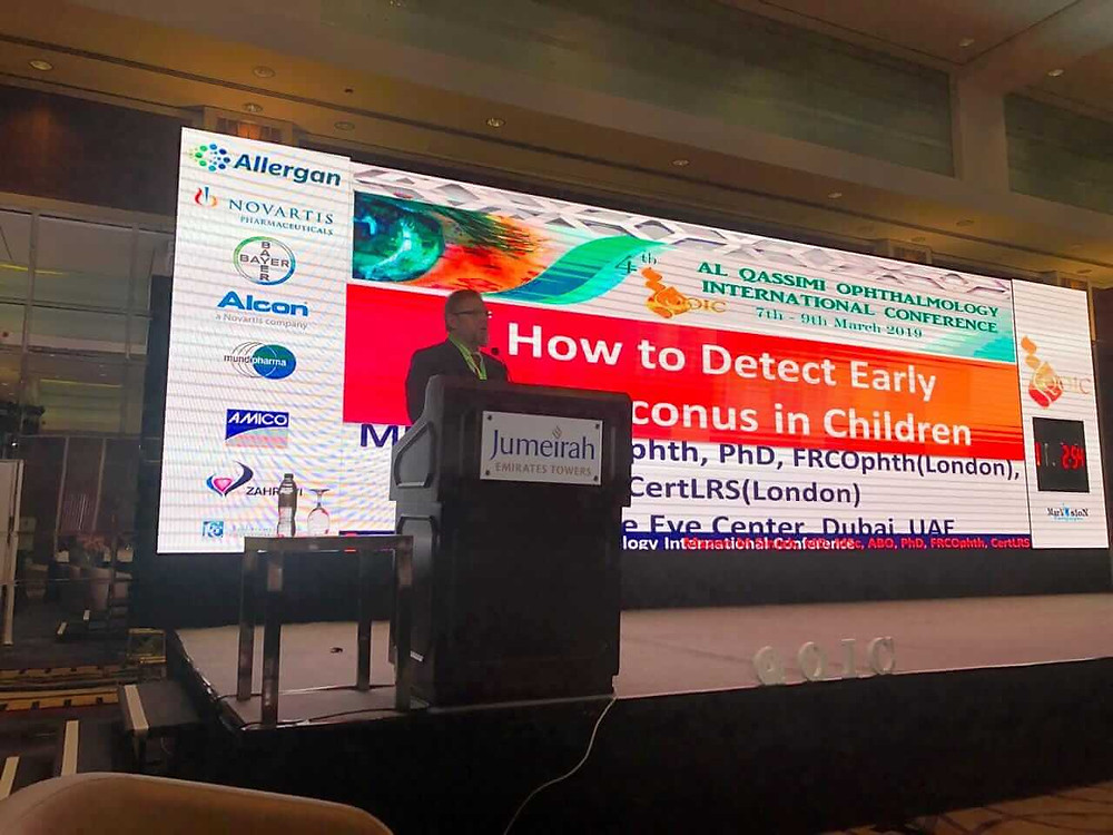 As a guest speaker, Dr. Mazen Sinjab lectures in Al Qassimi Ophthalmology International Conference (QOIC) , and presents the latest updates in refractive surgery and early detection of keratoconus in children. Dr. Mazen Sinjab received the appreciation shield for his scientific achievements in international medical education.