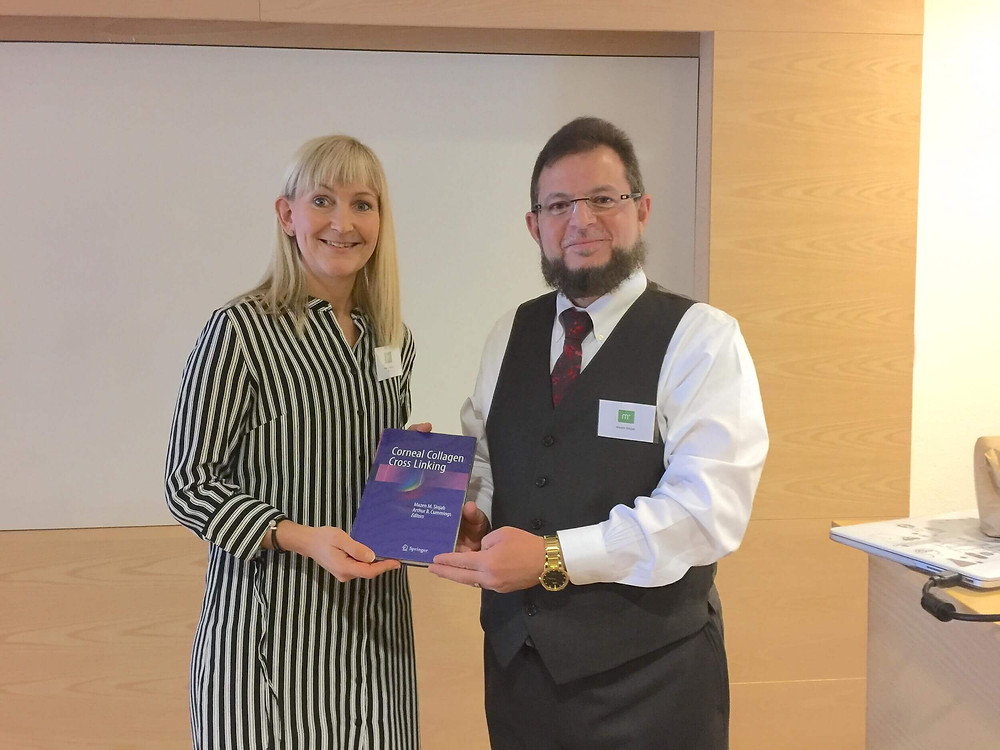 Dr. Mazen Sinjab gifts a copy of his books to Memira Medical Institute in Sweden.