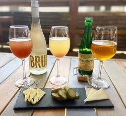 Stave-style brunch. Mimosas, gueuze, cheese, and pickles.