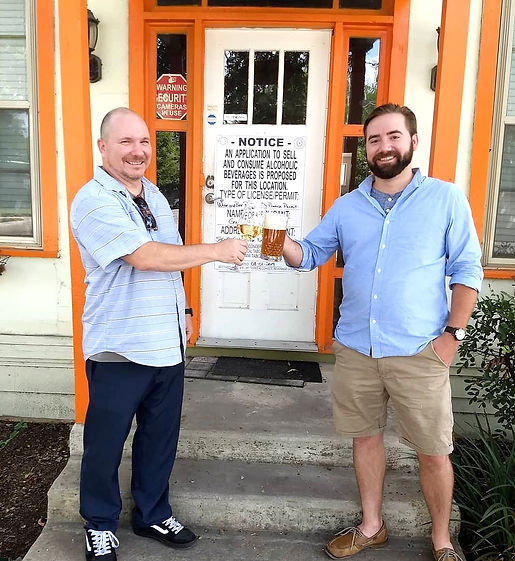 Small business owners Terence Green and Clayton Hennian in front of Stave beer and wine house.