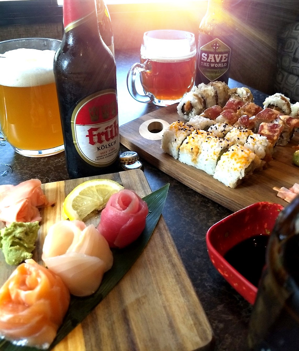 Craft beer and sushi pairings with Fruh Kolsch, Save the World Belgian-style pale ale, and Franziskaner Weissbier