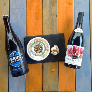 A wonderful fall cheese from River Whey Creamery paired perfectly with Save the World Biere de Garde and Beaujolais Nouveau.