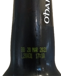 An example of a beer's best by date code on O'hara's Irish stout bottle.