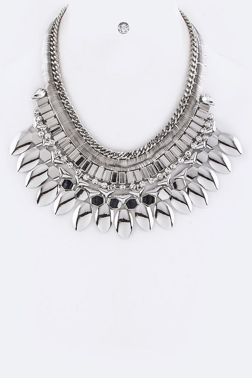 Silver Statement Necklace Set