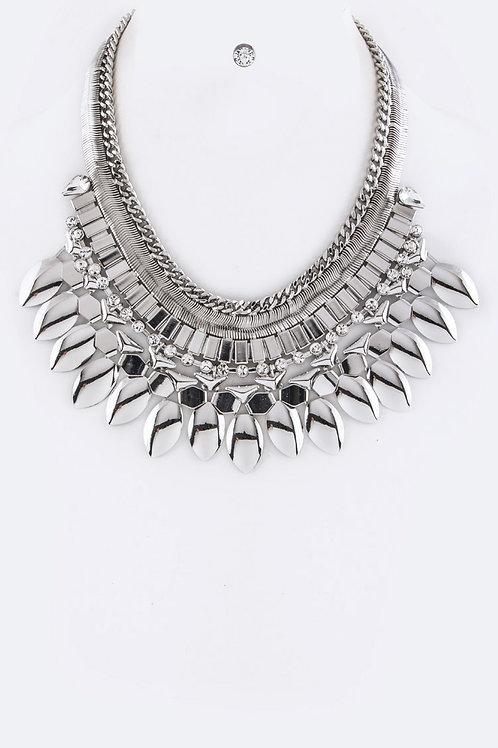 Silver Statement Necklace Set