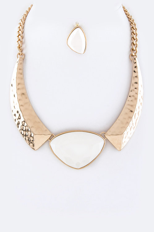 Stone Metal Necklace Set