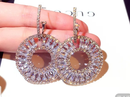 Crystal Round Luxe Earrings