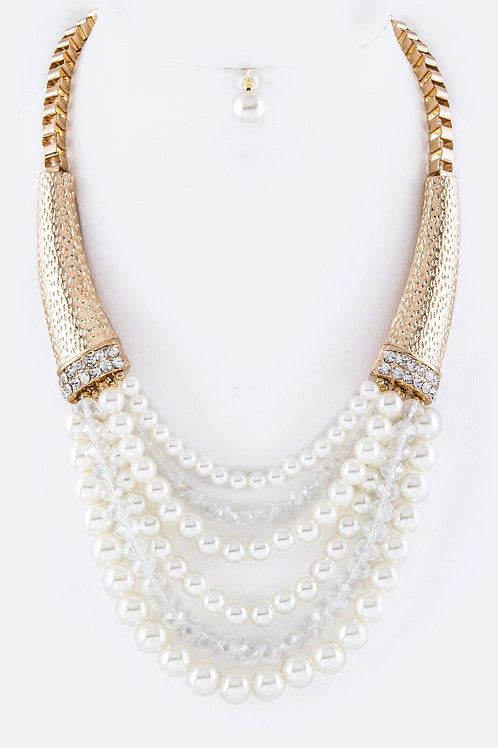 Gold,Pearls, & Beads Necklace Set