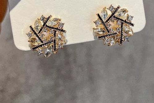 Crystal Geo Stud Earrings