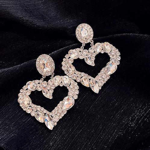 Clear Rhinestones Big Heart Earrings