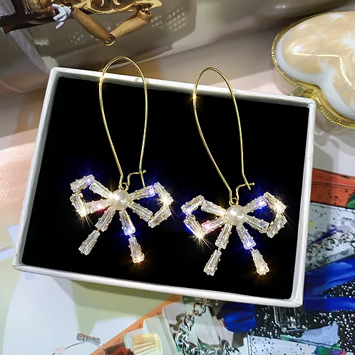 Gold Knotted Bow Crystal Earrings
