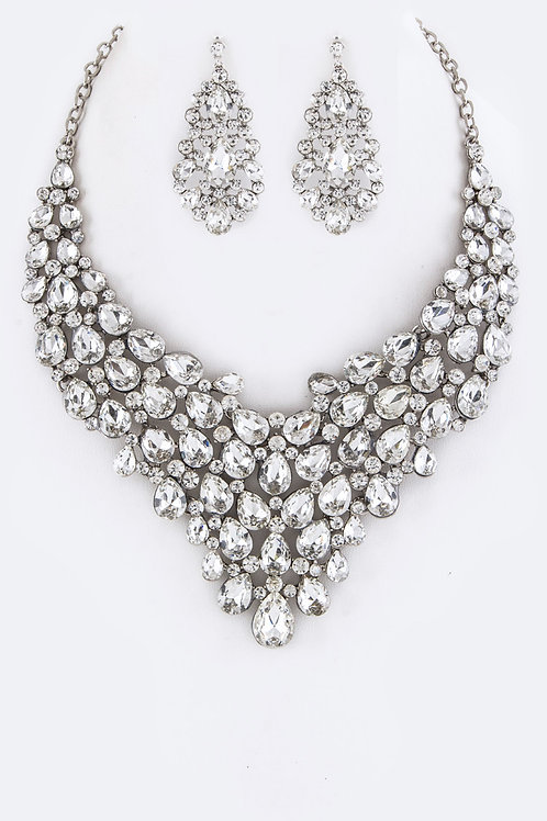 Clear Crystal Necklace Set