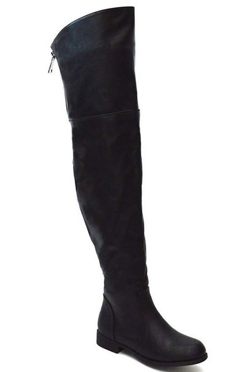 Black wide leg thigh high boots