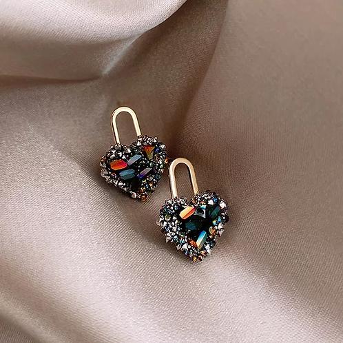 Multi Color Small Heart Vintage Earrings